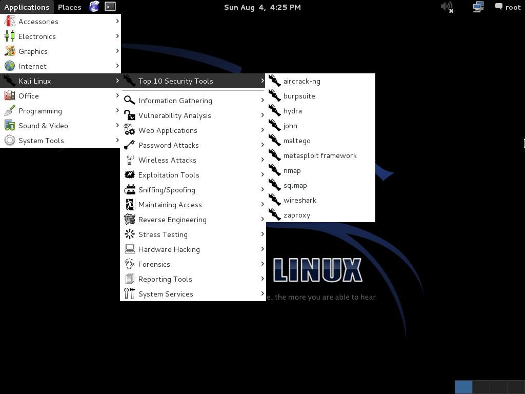Kali Linux Menu - blackMORE Ops