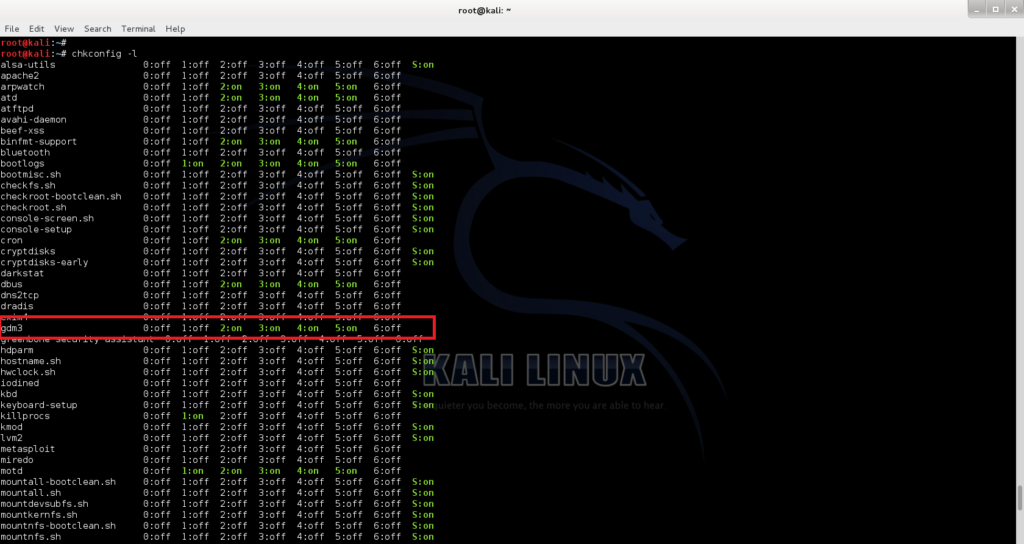 Check current status of gdm3- Revert Kali Linux login to classic BackTrack command line login - 2 - blackMORE Ops