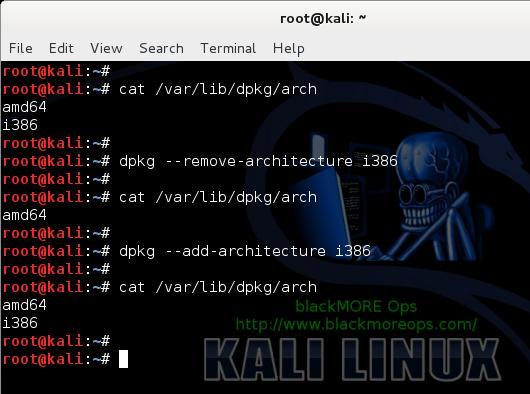 2 - Install Skype in Kali Linux - cat var-lib-dpkg-arch - blackMORE Ops