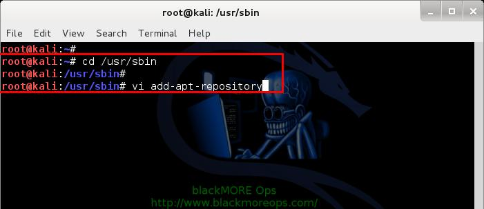 Kali Linux add PPA repository add-apt-repository - adding add-apt-repository code - 5 - blackMORE Ops