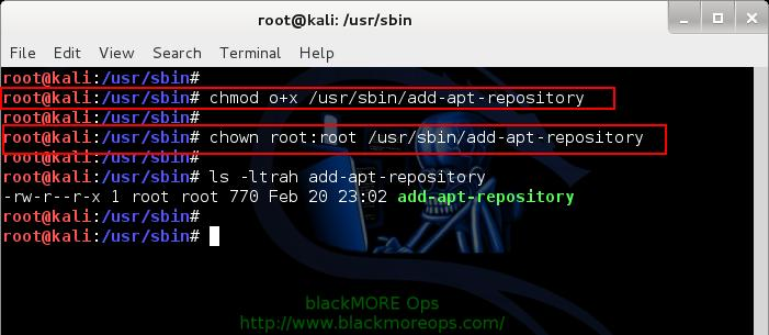 Kali Linux add PPA repository add-apt-repository - chown and chmod add-apt-repository - 6 - blackMORE Ops