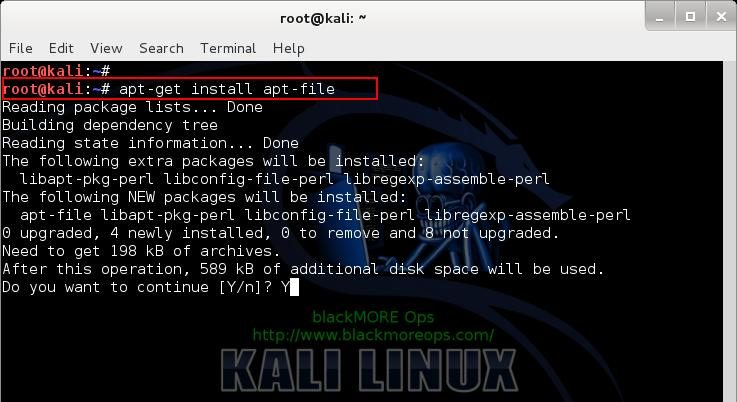Kali Linux add PPA repository add-apt-repository - install apt-file - 2 - blackMORE Ops