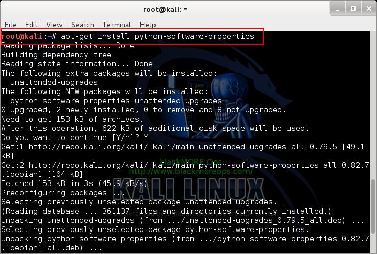 Kali Linux add PPA repository add-apt-repository - install python-software-properties - 1 - blackMORE Ops