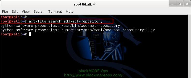 Kali Linux add PPA repository add-apt-repository - search apt-file - 4 - blackMORE Ops