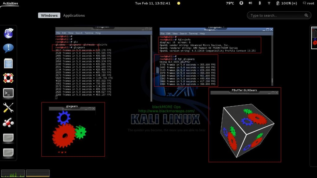 fgl_glxgears - Install AMD ATI proprietary driver (fglrx) in Kali Linux 1.0.6 running Kernel version 3.12.6 - blackMORE Ops