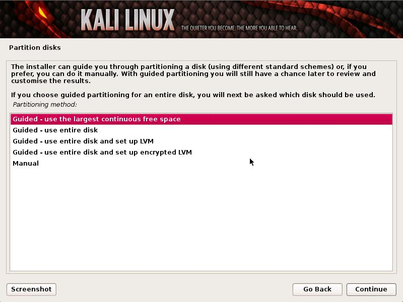 Disk Partitioning - 3 - Installation Step failed in Kali Linux - blackMORE Ops