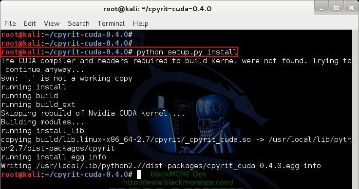 Install CPyrit-cuda - 7 - Install NVIDIA driver kernel Module CUDA and Pyrit on Kali Linux - blacKMORE Ops