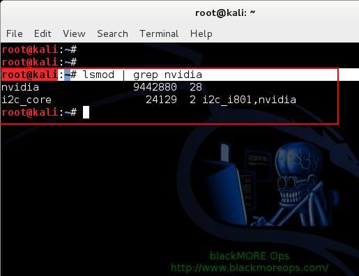 Run lsmod grep nvidia- 8 - Install proprietary NVIDIA driver on Kali Linux - blackMORE Ops