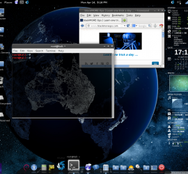 Awesome Kali Linux desktop with black-element theme, conkycolor and cairodock