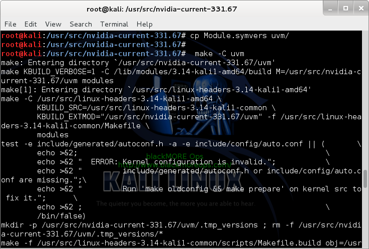 11 - Kali Linux 1.0.7 kernel 3.14 install NVIDIA driver kernel Module CUDA and Pyrit – CUDA, Pyrit and Cpyrit-cuda - recompile uvm
