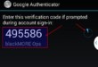 12 - Verification Key on SMARTPhone to use Google Authenticator - blackMORE Ops