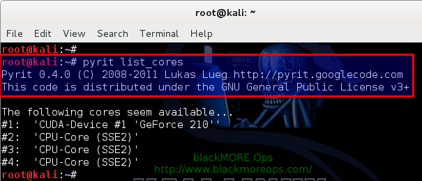 13 - Kali Linux 1.0.7 kernel 3.14 install NVIDIA driver kernel Module CUDA and Pyrit – CUDA, Pyrit and Cpyrit-cuda - pyrit list cores now works