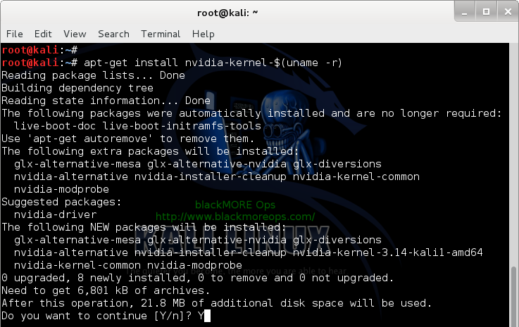 2 - Kali Linux 1.0.7 kernel 3.14 - Install proprietary NVIDIA driver - NVIDIA Accelerated Linux Graphics Driver - Install NVIDIA Kernel