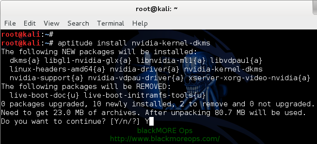 3 - Kali Linux 1.0.7 kernel 3.14 - Install proprietary NVIDIA driver - NVIDIA Accelerated Linux Graphics Driver - Install NVIDIA Kernel DKMS