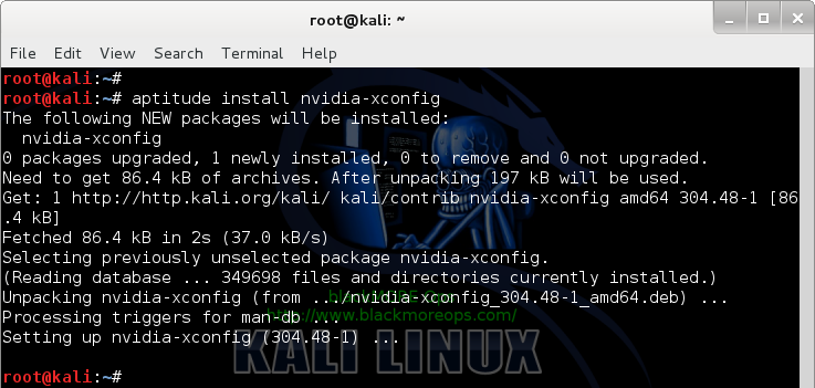 6 - Kali Linux 1.0.7 kernel 3.14 - Install proprietary NVIDIA driver - NVIDIA Accelerated Linux Graphics Driver - Install nvidia-xconfig package