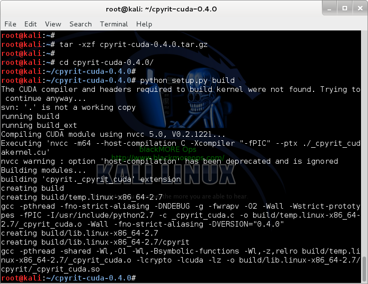 7 - Kali Linux 1.0.7 kernel 3.14 install NVIDIA driver kernel Module CUDA and Pyrit – CUDA, Pyrit and Cpyrit-cuda - extract and compile cpyrit-cuda