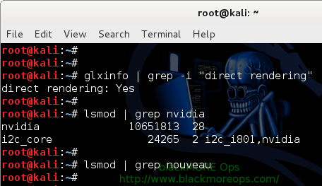 8 - Kali Linux 1.0.7 kernel 3.14 - Install proprietary NVIDIA driver - NVIDIA Accelerated Linux Graphics Driver - Confirm installation