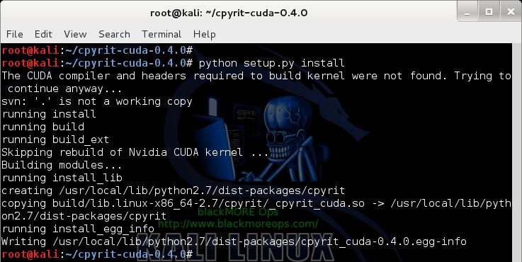 8 - Kali Linux 1.0.7 kernel 3.14 install NVIDIA driver kernel Module CUDA and Pyrit – CUDA, Pyrit and Cpyrit-cuda - install cpyrit-cuda