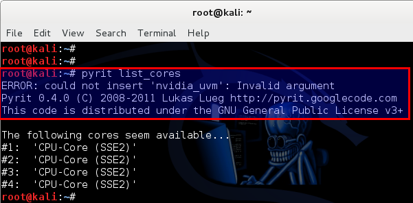 9 - Kali Linux 1.0.7 kernel 3.14 install NVIDIA driver kernel Module CUDA and Pyrit – CUDA, Pyrit and Cpyrit-cuda - run pyrit and it gives nvidia_uvm error