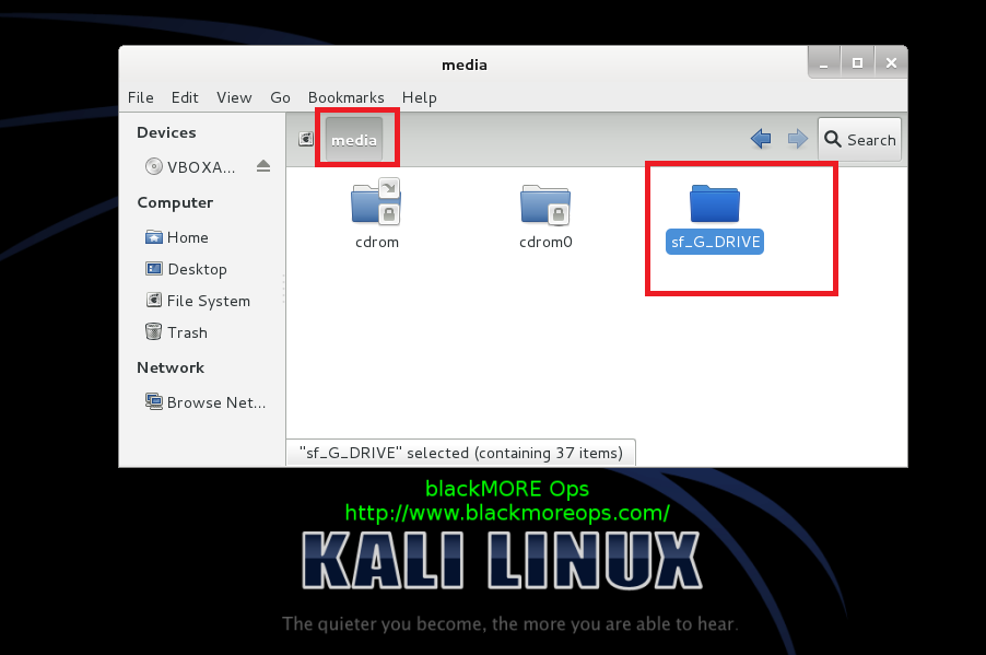 Correct way to install Virtualbox Guest Additions packages on Kali Linux and create shared folder - blackMORE Ops - 3