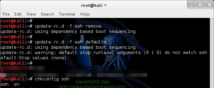 Kali Linux remote SSH - How to configure openSSH server - blackMORE Ops -3