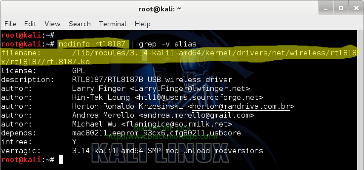 Identify USB Driver - modinfo driver-name showing driver file for selected USB device - blackMORE Ops - 7