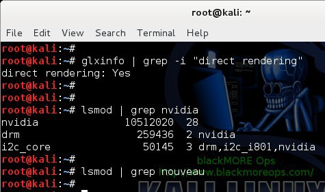 Kali Linux 1.1.0 kernel 3.18 - Install proprietary NVIDIA driver - NVIDIA Accelerated Linux Graphics Driver - blackMORE Ops - 11