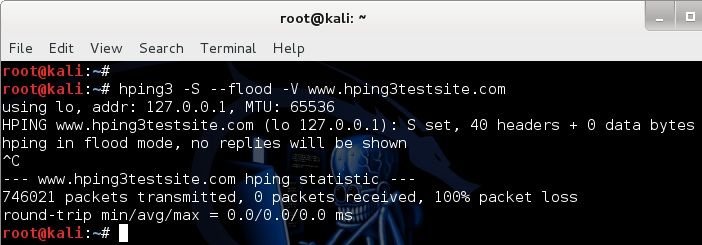 Denial-of-service Attack – DoS using hping3 with spoofed IP in Kali Linux - blackMORE Ops - 1