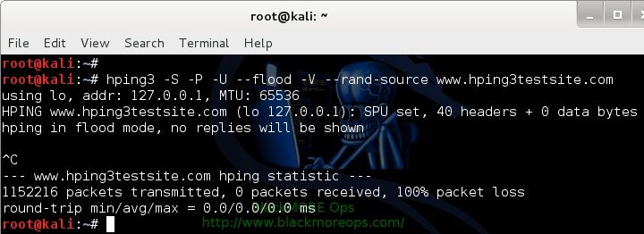 Denial-of-service Attack – DoS using hping3 with spoofed IP in Kali Linux - blackMORE Ops - 2