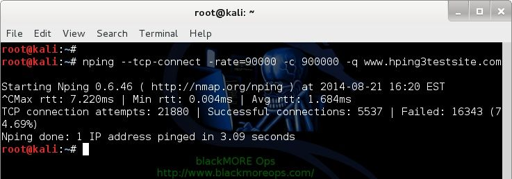 Denial-of-service Attack – DoS using hping3 with spoofed IP in Kali Linux - blackMORE Ops - 3