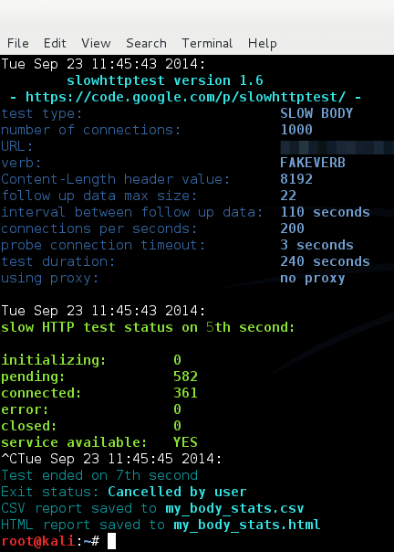 Attack website using slowhttptest - slowloris, slow HTTP POST and slow Read attack in one tool - blackMORE Ops - 3