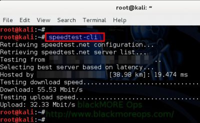 Check internet speed from terminal in Linux - blackMORE Ops -2