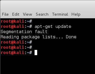 Segmentation fault when updating Kali Linux 2.0 Sana - blackMORE Ops -1