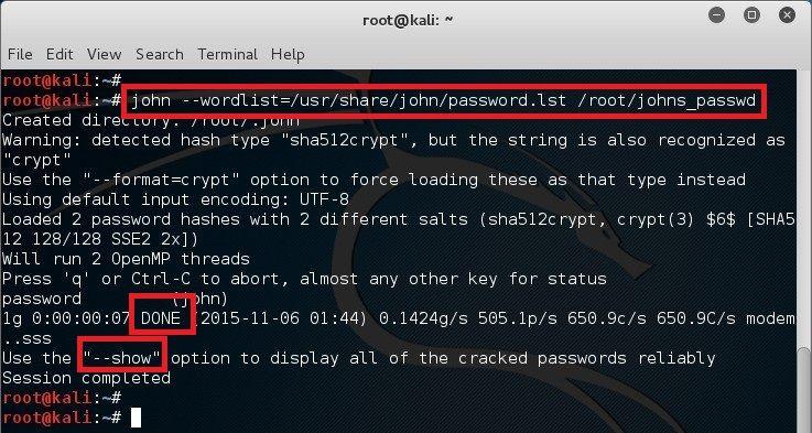 Cracking password in Kali Linux using John the Ripper