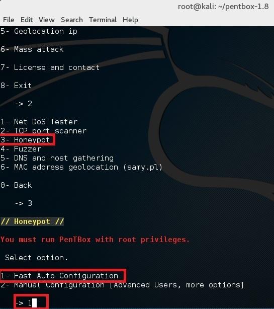 honeypot در kali linux