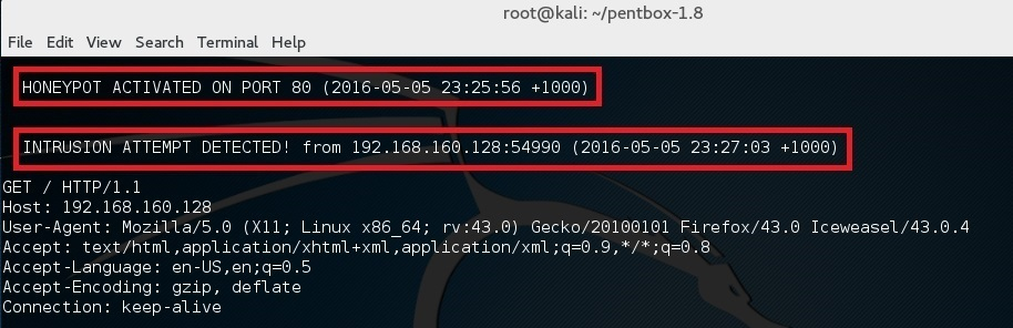 Set up a honeypot in Kali Linux - blackMORE Ops - 8