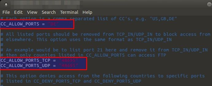 Limiting access to specific ports by country in CSF - blackMORE Ops - 2