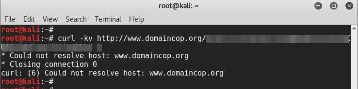 Shortest spam run ever - domaincop.org Domain Abuse Notice Spam - curl URL - blackMORE Ops - 2