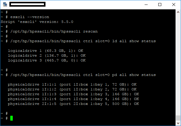 hpssacli command on ESXi and adding new Disk to ESXi host