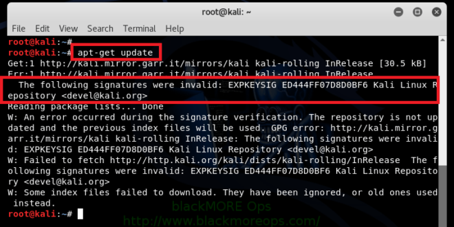 The following signatures were invalid: EXPKEYSIG ED444FF07D8D0BF6 Kali Linux Repository
