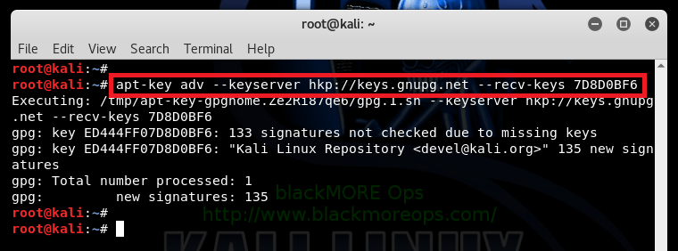 The following signatures were invalid EXPKEYSIG ED444FF07D8D0BF6 Kali Linux Repository - blackMORE Ops -4
