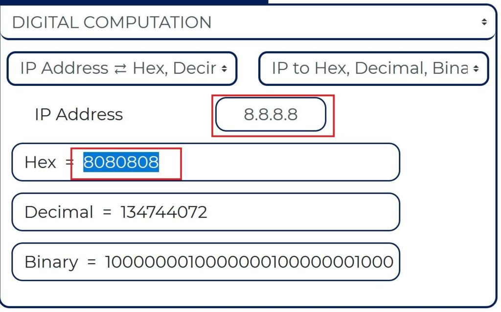 IP address to hex