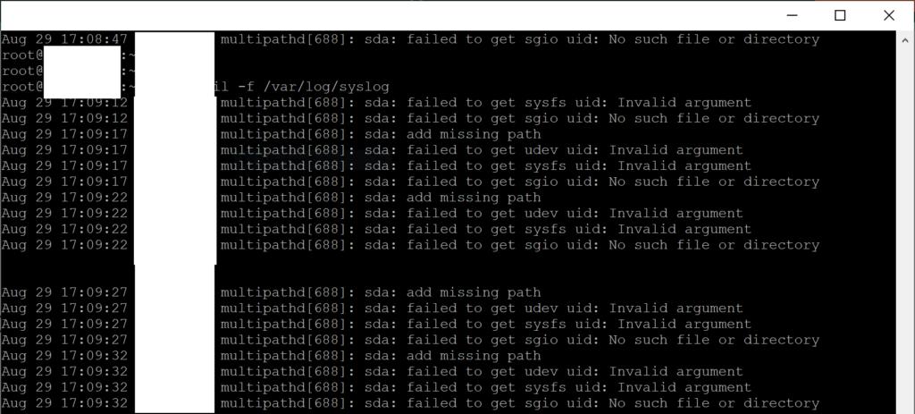 Fix multipathd[688] add missing path error on Linux - Syslog error