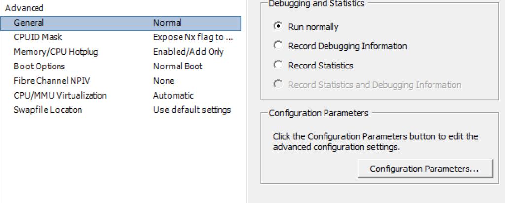 General Configuration Parameters settings on VMware